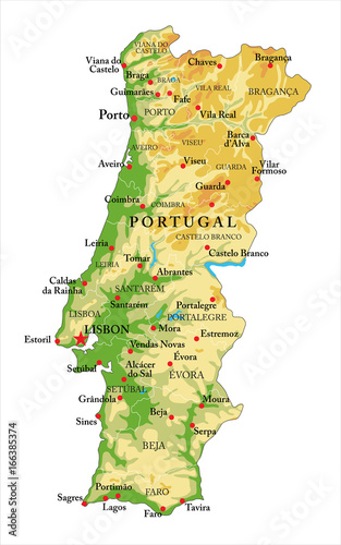 Portugal relief map Wallpaper Mural