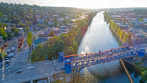 Fremont Bridge Seattle Lake Washington Ship Canal Magnolia Neighborhood Aerial Canvas Print