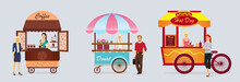 Creative Detailed Vector Street Coffee Cart, Donat And Hotdog Shop With Sellers. Young People Buy Street Food Or Junk Food In Food Festival Event. Illustration In Flat Cartoon Style.