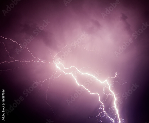 Foto op Canvas Onweer Thunderstorm lightning and clouds