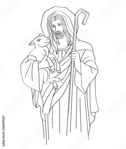Jesus Christ is the good shepherd, art sketch or drawing, line art vector design Canvas Print