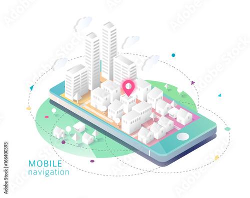 Fotografia  Isometric concept of mobile navigation.