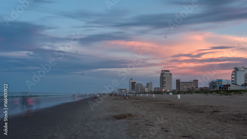 Fotografie, Obraz  Long Exposure of South Padre Island Beach At Sunset