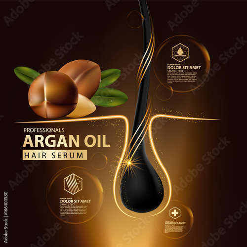 Photo argan oil hair care protection illustration