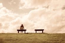 A Women Sitting Alone On A Ben...