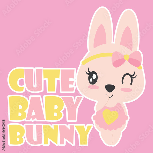 Cute Baby Bunny Smiles On Pink Background Vector Cartoon Illustration For Kid T Shirt Design Postcard And Wallpaper Buy This Stock Vector And Explore Similar Vectors At Adobe Stock Adobe Stock