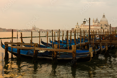 Spoed Foto op Canvas Gondolas Gondolas of Venice in the morning light. Italy.