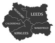 West Yorkshire metropolitan county England UK black map with white labels illustration