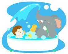 Little Boy Take A Bath With Elephant In Tub Vector.