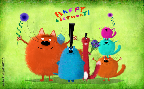 Photo  Birthday Card Big Company Of Cats With Flowers And Balloon