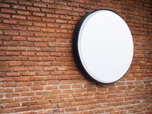 Signboard Shop Mock Up Logo Circle Display On Brick Wall