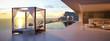 Leinwanddruck Bild - beautiful sunset at the infinity pool. 3d rendering