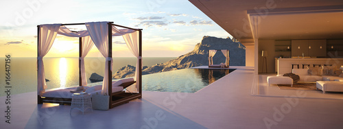 Fotografia beautiful sunset at the infinity pool. 3d rendering