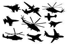 Airplane, Helicopter Set. Military Aircraft Silhouette Vector Collection. Air Transport