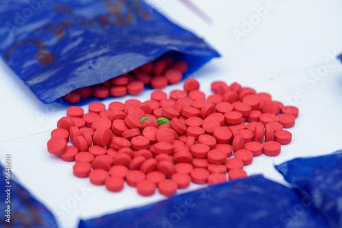 Amphetamine pills in plastic bags It's illegal. Canvas Print