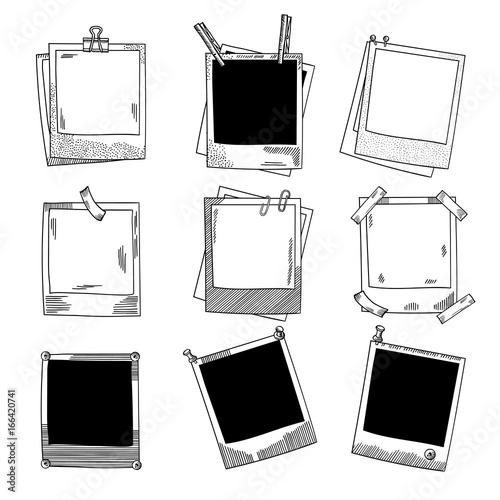 Obraz Hand drawn photo frames. Vintage vector illustration set - fototapety do salonu