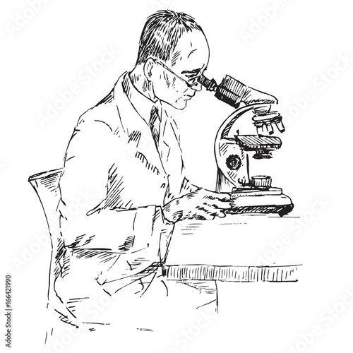 a male scientist is studying something under a microscope hand drawn doodle sketch in pop art style black and white vector illustration buy this stock vector and explore similar vectors at adobe stock
