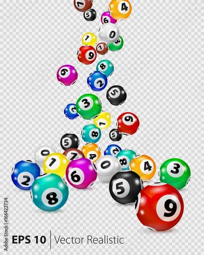 Vector Colorful Bingo balls fall randomly Canvas Print