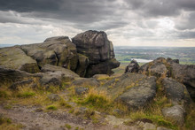Blackstone Edge Is A Gritstone Escarpment At 1,549 Feet Above Sea Level In The Pennine Hills Surrounded By Moorland On The Boundary Between Greater Manchester And West Yorkshire In England.
