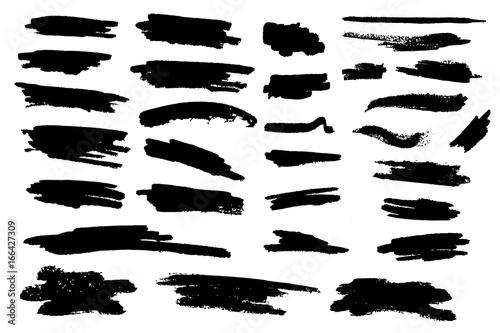 Fototapety, obrazy: Set of black paint, ink brush strokes