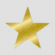 Golden Star On Transparent Bac...