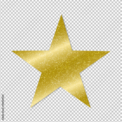 Photo  Golden Star On Transparent Background