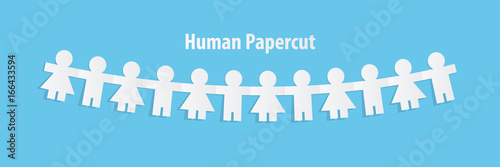 Photographie  Human paper cut illustration vector on blue background