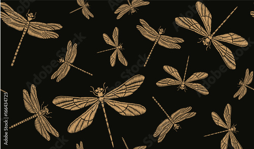 Cotton fabric Golden dragonflies. Vector seamless pattern. Embroidery for clothes, textiles, wallpapers, background design