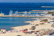 Panoramic view of the Tel-Aviv beach and marina on Mediterranean sea. Israel