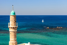 Jaffa Sea Mosque Minaret And A...