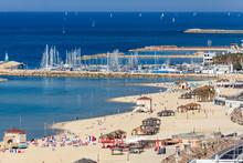 Panoramic View Of The Tel-Aviv Beach And Marina On Mediterranean Sea. Israel