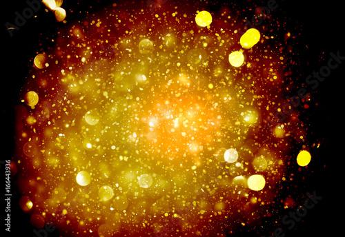 Dark Gold Sparkle Rays Lights Bokeh Elegant Abstract
