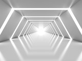 Fototapeta Do przedpokoju - Abstract background with symmetric white shining tunnel interior