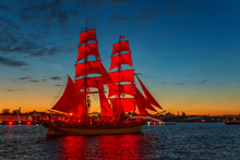 Ship With Scarlet Sails In The...