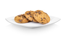 Chocolate Chip Cookie In Ceramic White Plate On White Background