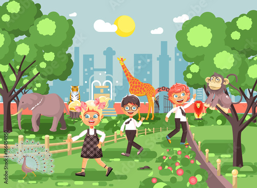 Vector illustration or banner for site with schoolchildren, classmates on walk, school zoo excursion zoological garden, boys and girls watching wild animals and birds flat style, city background
