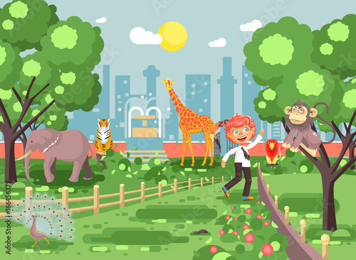 Vector illustration banner for site with schoolchild on walk, school zoo excursion zoological garden, boy redhead teases monkey, peacock, elephant, lion, tiger, giraffe, wild animals flat style