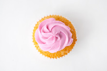 Cupcake With Pink Whipped Crea...
