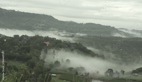 Abstract blurred morning sunset fog and cloud mountain valley landscape