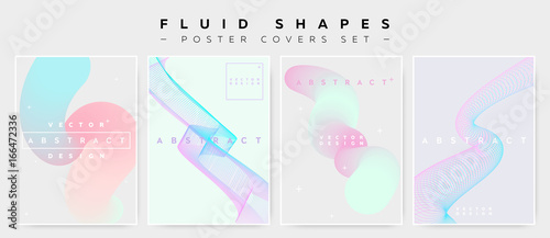 Pastel Covers Set with Abstract Fluid Waves. Modern Minimalistic Vector Illustration.