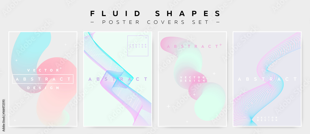Fototapety, obrazy: Pastel Covers Set with Abstract Fluid Waves. Modern Minimalistic Vector Illustration for Placard, Flyer, Banner, Report,Presentation. Abstract Futuristic Design with Holographic Colors and Copy Space.