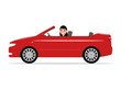 Vector cartoon girl riding in a red car cabriolet