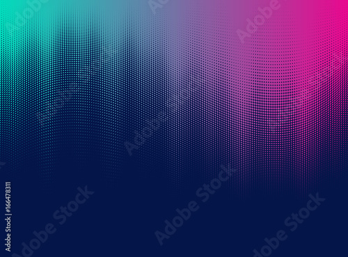 Fototapeta Vector halftone gradient effect. Vibrant abstract background. Retro 80's style colors and textures. obraz