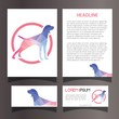 Brochure Flyer Business Card Template Set Lowpoly Geometric Illustration