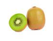 A half of fresh kiwi fruit and a whole kiwi fruits isolated on white background.
