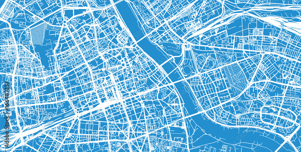 Fototapety, obrazy: Urban city map of Warsaw, Poland