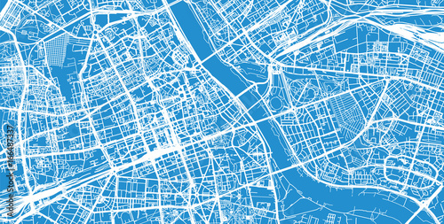 Urban city map of Warsaw, Poland Wallpaper Mural