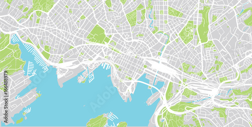 Photo  Urban city map of Oslo, Norway