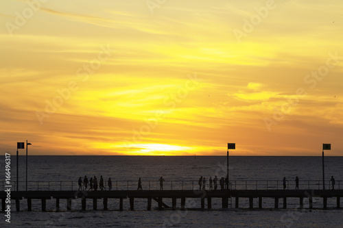 The most popular tourist attractions, scenic sunsets blessing Pier, sunset silhouettes, Frankston, Melbourne, Victoria, Australia Canvas Print