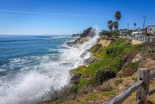 Crashing Waves Spray The Shore Of Capitola, CA